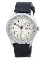 Seiko 5 Sports Military Automatic Japan Made Ratio Black Leather SNZG07J1-LS8 Men's Watch