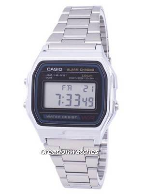 Casio Digital Stainless Steel Daily Alarm A158WA-1DF A158WA-1 Men's Watch