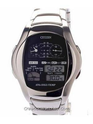 Citizen Ana-digi Thermometer Digital Dual Time Vintage JG2081-57
