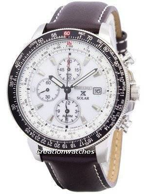 Seiko Pilot's Solar Alarm Chronograph Flightmaster SSC013 SSC013P1 SSC013P Men's Watch