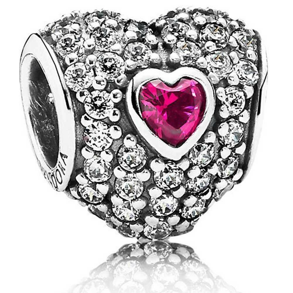 PANDORA 791168SRU Red Pave Tripple Heart Charm Women's