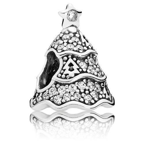 PANDORA 791765CZ Twinkling Christmas Tree Charm Women's