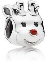 PANDORA 791781EN39 Reindeer Silver Charm With Red Enamel Women's