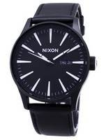 Nixon Quartz Sentry Black Leather A105-005-00 Herrenuhr