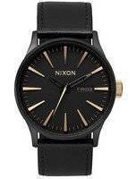 Nixon Quartz Sentry Black Leather A105-1041-00 Men's Watch