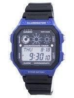 O relógio dos homens do alarme AE-1300WH-2AV do cronógrafo do iluminador da série da juventude de Casio AE1300WH-2AV