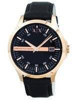 Armani Exchange Rose Gold Black Dial Leather Strap AX2129 Men's Watch