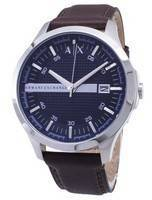 Armani Exchange Quartz Navy Dial Brown Leather Strap AX2133 Men's Watch