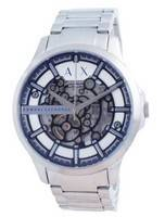 Relógio masculino Armani Exchange Hampton esqueleto em aço inoxidável automático AX2416