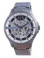 Relógio masculino Armani Exchange Hampton esqueleto em aço inoxidável automático AX2417