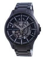 Relógio masculino Armani Exchange Hampton esqueleto em aço inoxidável automático AX2418