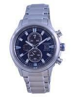 Citizen Brycen Chronograph mostrador azul em aço inoxidável Eco-drive CA0731-82L 100M relógio masculino