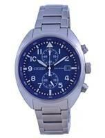 Relógio masculino Citizen cronógrafo azul mostrador em aço inoxidável Eco-drive CA7040-85L 100M