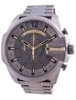 Relógio masculino Mega Chief Chronograph Diesel Mostrador cinza em aço inoxidável DZ4466 100M