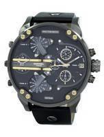 Relógio de couro Diesel Mr. Daddy 2.0 preto mostrador preto couro DZ7348