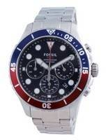 Fossil FB-03 cronógrafo mostrador preto em aço inoxidável quartzo FS5767 100M relógio masculino