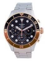 Fossil FB-03 cronógrafo mostrador preto em aço inoxidável quartzo FS5768 100M relógio masculino