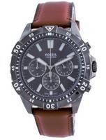 Fossil Garrett Chronograph Mostrador Preto Couro Quartzo FS5770 100M Relógio Masculino
