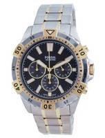 Relógio masculino Fossil Garrett Chronograph Mostrador preto em aço inoxidável FS5771 100M