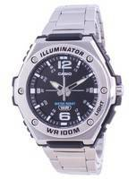 Casio Youth Black Dial Stainless Steel Quartz MWA-100HD-1A MWA100HD-1 100M Men's Watch