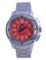 Relógio masculino orient M-Force laranja de aço inoxidável de mergulho automático RA-AC0N02Y10B 200M