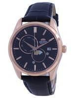 Relógio masculino Orient Classic Sun & Moon Gen mostrador preto RA-AK0309B10B