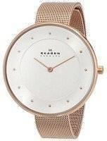 Skagen Silver Dial Rose Gold-Tone Mesh Bracelet SKW2142 Women's Watch