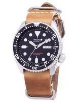 Seiko Automatic SKX007J1-LS18 Diver's 200M Japan Made Brown Leather Strap Men's Watch