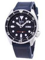 Seiko Automatic SKX007K1-LS13 Diver's 200M Dark Blue Leather Strap Men's Watch