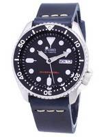 Seiko Automatic SKX007K1-var-LS15 200M Dark Blue Leather Strap Men's Watch