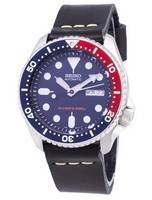 Seiko Automatic SKX009K1-LS14 Diver's 200M Black Leather Strap Men's Watch