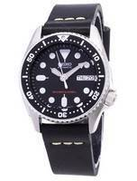 Seiko Automatic SKX013K1-MS8 Diver's 200M Black Leather Strap Men's Watch