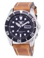 Seiko 5 Esportes SNZF17J1-LS17 Japão Automático Feito Pulseira De Couro Marrom Relógio Masculino