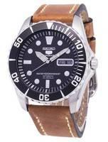 Relógio Seiko 5 Sports SNZF17K1-LS17 automático couro marrom Strap masculino