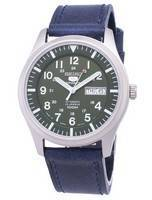 Seiko 5 Sports SNZG09J1-LS13 Japan Made Dark Blue Leather Strap Men's Watch