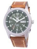 Seiko 5 esportes SNZG09K1-LS17 relógio de homens de pulseira de couro marrom automático