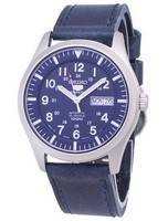 Seiko 5 Sports SNZG11J1-LS13 Japan Made Dark Blue Leather Strap Men's Watch