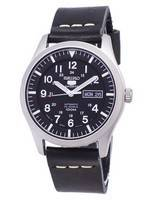 Seiko 5 Sports SNZG15J1-LS14 Japan Made Black Leather Strap Men's Watch