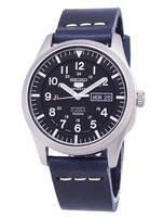 Seiko 5 Sports SNZG15J1-var-LS15 Automatic Japan Made Dark Blue Leather Strap Men's Watch