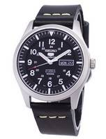 Seiko 5 Sports SNZG15K1-LS14 Automatic Black Leather Strap Men's Watch