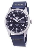 Seiko 5 esportes snzg15k1-ls15 automático azul escuro pulseira de couro relógio dos homens