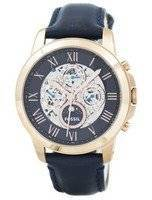 Refurbished Fossil Grant Automatic Blue Skeleton Dial Blue Leather ME3029 Men's Watch