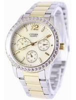 Relógio feminino reformado Citizen Quartz Swarovski Crystals ED8094-52N
