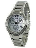 Relógio feminino reformado Citizen Eco Drive Diamond com destaques do cronógrafo FB1321-56A