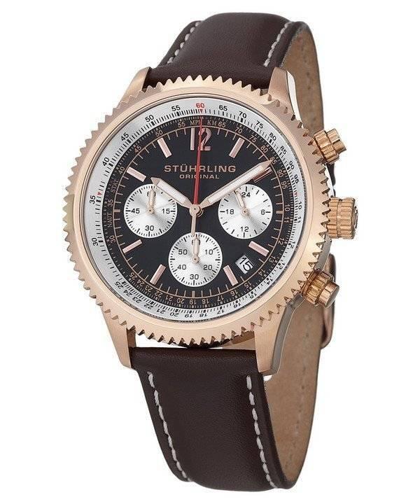 Stuhrling Original Monaco Quartz Chronograph Rose Gold Plated 669 04