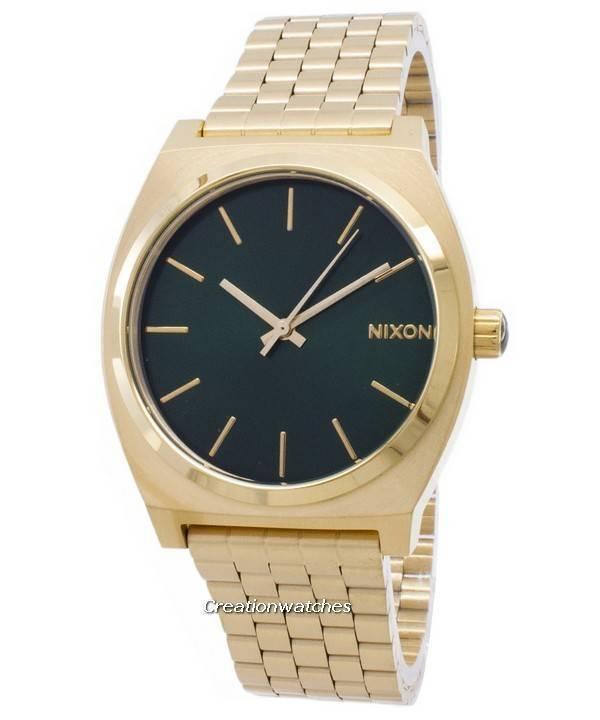 490dd450910 Nixon Time Teller guld Tone grønne Sunray A045-1919-00 Herreur da
