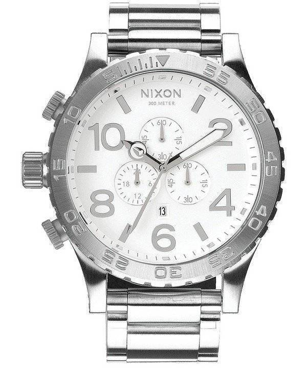 Nixon High Polish White Dial Chronograph 300M A083-488-00 Men's Watch - Click Image to Close
