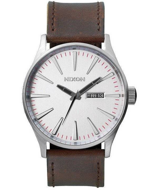 Nixon Quartz Sentry Brown Leather A105-1113-00 Men's Watch - Click Image to Close