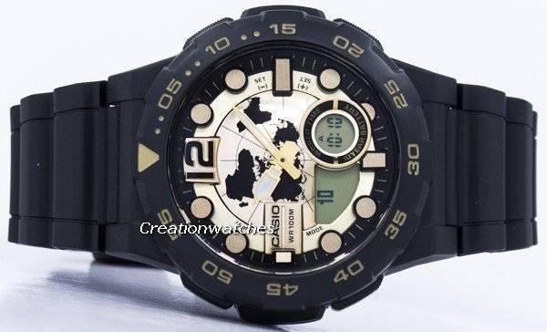 70076845f1c9 Reloj Casio World Time Alarm analógico digital AEQ-100BW-9AV AEQ100BW-9AV  para