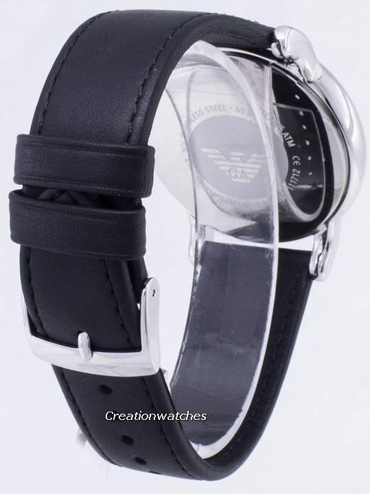 fb9864076a85 Emporio Armani Classic esfera negra cuero negro AR1692 reloj de hombres